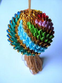 Multicolor Origami Temari Ball with Gold Tassel Ornament