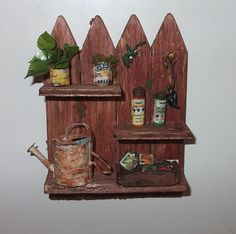 Dollhouse  Fence Garden shelf  1/12th Scale by Teruka on Etsy