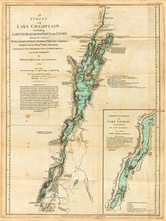 1776 Lake Champlain, Lake George, Valcour Island, Revolutionary War map