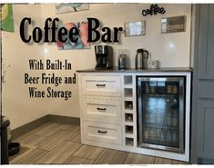 Coffee Bar with Built-In Beer Fridge and Wine Storage - Coffee Ideas Coffe And Wine Bar, Wine And Beer Fridge, Coffee Bars In Kitchen, Coffee Bar Home, Coffee Wine, Coffee Nook, Bar Kitchen, Coffee Art, Coffee Beans
