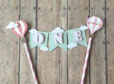 Hot Air Balloon Cake Topper- Cake Bunting, ONE cake topper,First Birthday Smash Cake topper, Hot Air Balloon Garland for cake , Baby 1st Birthday, First Birthday Parties, Birthday Party Themes, First Birthdays, Birthday Bunting, Elephant Birthday, Balloon Cupcakes, Hot Air Balloon Cake, Balloon Party