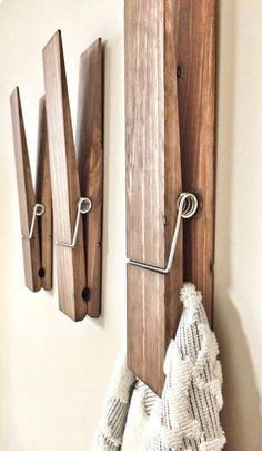 diy home decor - SUPER HUGE Jumbo Rustic 12 Decorative Clothespin in Walnut Finish, Photo Note Holder for Home Office, Kids Drawing Display, Bathroom Hooks