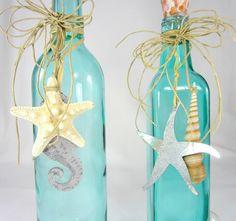 2pc Beach Decor Decorative Bottles Nautical by beachgrasscottage