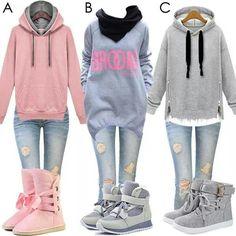A) sweatshirt B) scarf C) shoes