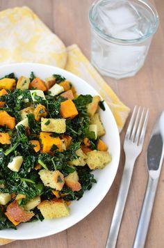 Love this winter seasonal twist on a classic summer salad Butternut Squash Panzanella Salad via @acaspero