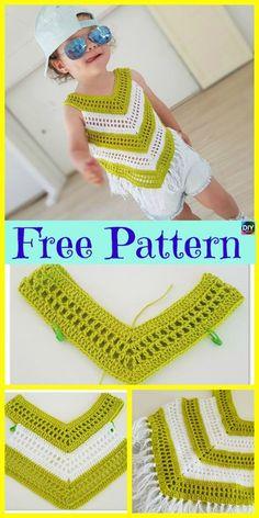 Crochet Little Girl Summer Top - Free Pattern - Crochet . Crochet Little Girl Summer Top - Free Pattern - Crochet boy girl Knitting works are the time. Débardeurs Au Crochet, Poncho Crochet, Patron Crochet, Chevron Crochet, Crochet Blouse, Crochet Hooks, Baby Knitting Patterns, Baby Patterns, Crochet Baby Dresses