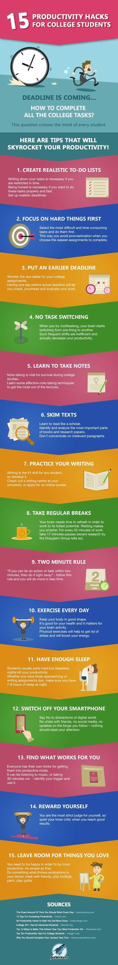 15 Productivity Hacks for College Students - info graphic