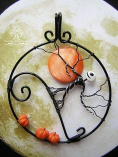 Nightmare Before Christmas Inspired Tree of Life Wire Wrapped Pendant Jewelry Halloween Pumpkins