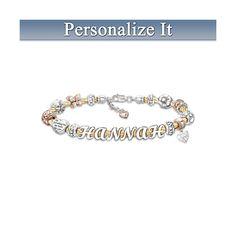 Granddaughter Cable Bracelet With Name In Letter Beads Letter Beads, Letter Charms, Music Boxes, Personalized Bracelets, Fashion Bracelets, Swarovski Crystals, Angels, Beaded Bracelets, Lettering