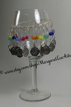 12 Zodiac Wine Glass Charm Markers - Rainbow glass and stone beads  - Gift Under 20 - GREAT Hostess Gift for Parties