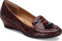 Comfortiva Shoes - Ashten is a modern tasseled loafer on a low wedge. Fabric lining Exclusive Pillowtop memory foam footbed Lightweight, flexible outsole Wrapped wedge. - #comfortivashoes #snakeshoes