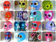 Mexican Day of the Dead skulls. n some areas, families go to the graveyard to celebrate through the night. They clean and decorate the graves, sometimes setting up ofrendas on the gravestones, as bells are rung. Sugar Skull Tattoos, Sugar Skull Art, Mexican Sugar Skulls, Sugar Skull Wedding, Day Of The Dead Skull, Skull Painting, Skulls And Roses, Autumn Crafts, Time To Celebrate