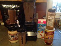 Chocolate peanut butter oatmeal cookie shakeology.  1 scoop chocolate shakeology, 1 cup unsweetened almond milk, 1 tblsn PB2 powdered peanut butter, cinnamon and 1 1/2 tblsn raw steel cut oats.  Yummy!
