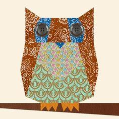 Owl paper pieced block