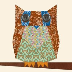 Owl paper pieced block