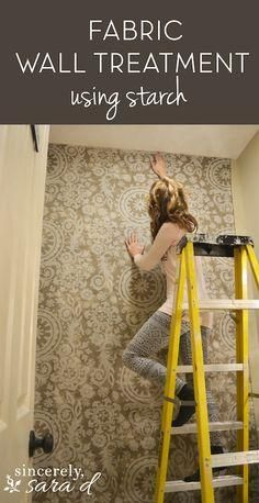 DIY fabric wall tutorial. Perfect for renters!