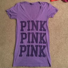 V Neck Lavendar Pink Brand T-Shirt Lavendar colored Pink shirt with darker purple writing. Size XS but is stretchy! PINK Victoria's Secret Tops Tees - Short Sleeve