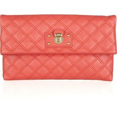 Marc Jacobs Eugenie quilted leather clutch ($495) ❤ liked on Polyvore