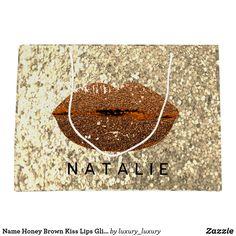 Name Honey Brown Kiss Lips Glitter Champagne Gold Large Gift Bag Custom Gift Bags, Customized Gifts, Glitter Home Decor, Large Gift Bags, Honey Brown, Artwork Design, Branding Design, Champagne, Unique Gifts