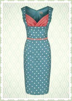 Lindy Bop 50er Jahre Rockabilly Etui Punkte Kleid - Vanessa - Grün