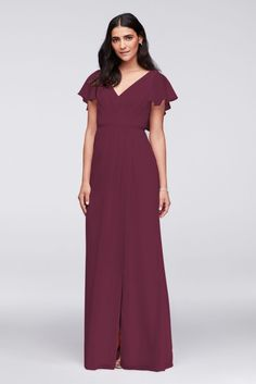 1f446d6e19e 10857282 - Flutter Sleeve Crinkle Chiffon Bridesmaid Dress Davids Bridal  Bridesmaid Dresses