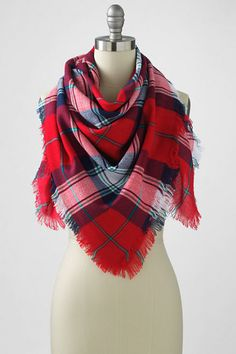 Women's Oversized Plaid Square Scarf - Royal Scottish tartan in a sweet, stylish accent. A perfect finishing touch for jackets and sweaters, or dress up a classic tee.