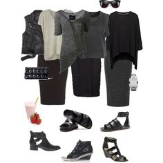 """""""Ensemble: Knitted Tube Skirt with a Hard Edge"""" by youlookfab on Polyvore"""