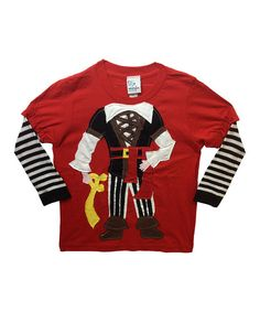 Look at this #zulilyfind! Red Pirate Applique Layered Tee - Infant, Toddler & Boys by Morfs #zulilyfinds