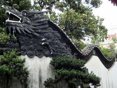 Yuyuan Garden, Old Shanghai, China dragon wall