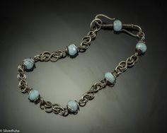Aquamarine Celtic knot silver bracelet by SilverPuha on Etsy, $43.00