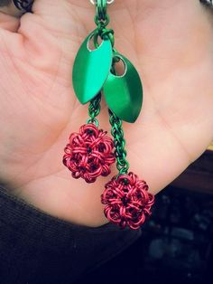 Cherries Pendant #scalemaille #chainmaille