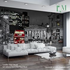 London in Black and Red Wall Mural, behind deep sofa in tv room