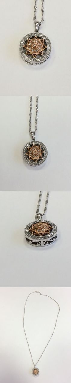 Diamond 164331: 14K Two Tone White And Rose Gold Genuine Diamond Pendant And Chain Necklace BUY IT NOW ONLY: $299.99