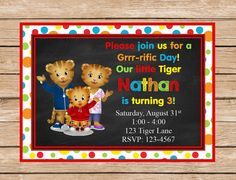 Daniel Tiger Printable Invitation    This is a custom printable 5 x 7 invitation.    In notes to seller at check out please include the following: