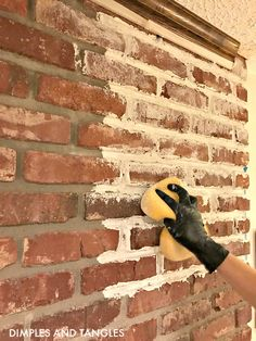 How to Mortar Wash a Brick Fireplace Brick Fireplace Makeover Mortar Wash Tutorial Dimples and Tangles Brick Fireplace Makeover, Farmhouse Fireplace, Home Fireplace, Fireplace Mantels, Brick Fireplace Decor, White Wash Fireplace Brick, Fireplace Mortar, Distressed Fireplace, Fireplace Doors
