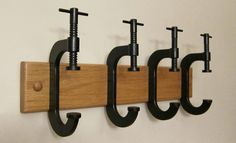 C-Clamp Coat Rack. $87.00, via Etsy. - This is a FANTASTIC idea!! Totally need one or two of these when we get a house