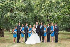 Blue inspired bridesmaid dresses.  Beautiful wedding for the Miami Merger couple! The Pinecroft at Crosley Estate was a gorgeous backdrop which was a perfect fit for the bride & groom's timeless style.   Cincinnati Wedding Photographer Amanda Donaho Photography