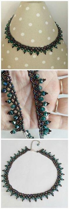 Aurora Borealis Collar Necklase, Beaded Jewelry, Seed Bead Necklase, Black Beaded Necklase, Beadwork Necklase, Beadwoven Jewelry