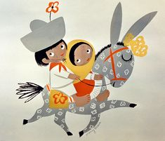 Mary Blair South American Kids - Que bonita ciudad! Another wonderful image in Blair's series of happy South American children riding happy...Kevin Kidney
