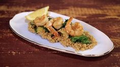 Delicious. Added a little lemon juice to the quinoa, a little white wine to the shrimp, and used a spinach and arugula mix.