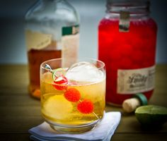 Ole Smokey cocktail 4 oz. bourbon 8 oz. ginger beer crushed ice 1 lime ...
