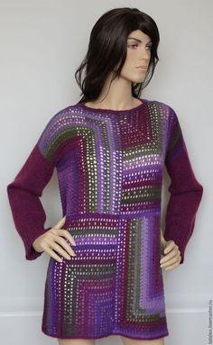 """Кофты и свитера ручной работы. Ярмарка Мастеров - ручная работа. Купить Пуловер """"Инжир"""". Handmade. Комбинированный, пуловер спицами"""
