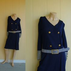 sailor dress . vintage 20s flapper . anchor buttons . nautical stripe . navy blue and white