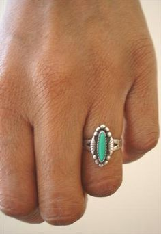 Vintage 60s Sterling Silver Jade/Turquoise Aztec Navajo Ring... have a ring just like this!