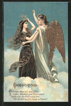 """carte postale ancienne: CPA """"Hoffnung"""" Engel tröstet Frau in schwarzer Trauerkleidung"""