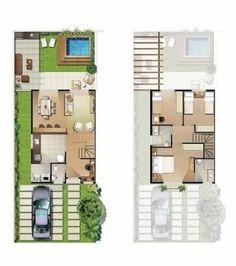planos de casas modernas de 6 x 18