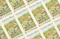 25 Grandma Moses Stamps 6c Vintage 1969 Unused by GubbaGumma