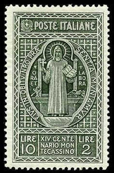Italian stamp commemorating the 14th centennial of Montecassino and St. Benedict