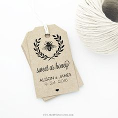 Honey Bee Wedding Favor Tag Template, MEDIUM Tag Size, Wedding Tags, Sweet as Honey - Wedding Labels - Hang Tags, DIY Digital Printable