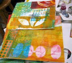 Here are a few pictures from the Monoprint Collage class at Pacific Northwest Art School  in Coupeville, WA, on Whidbey Island. In Septembe...